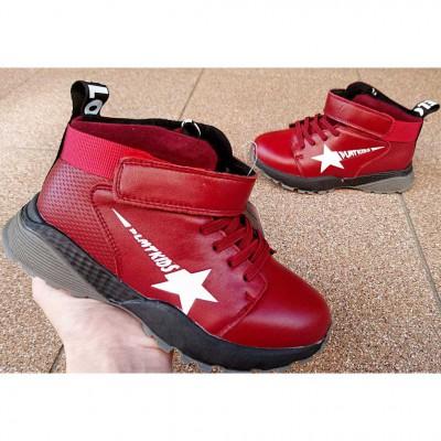 Кожаные ботинки кроссовки для девочек, 7181TA red