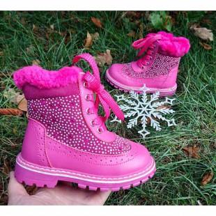 Зимние ботинки для девочек из кожи и замши Арт: А27-1 - последняя пара на ножку 14 см!