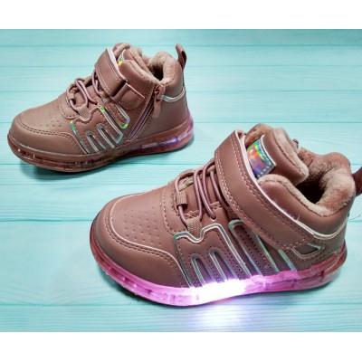 Утепленные кроссовки-мигалки, ботинки девочкам, 8-99003F