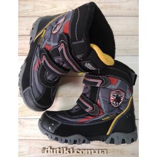Зимние термо ботинки для мальчиков на флисовом подкладе АРТ: В206 black-grey - последняя пара!
