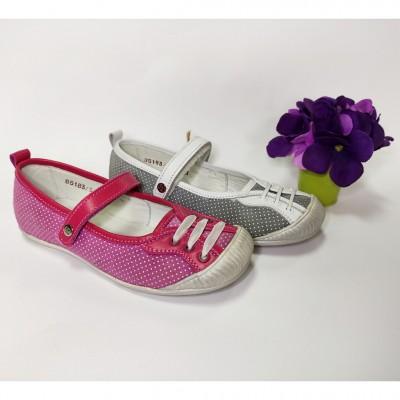 Туфли для девочек, балетки кожаные