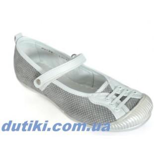 Кожаные туфли для девочек Арт: Д-387grey
