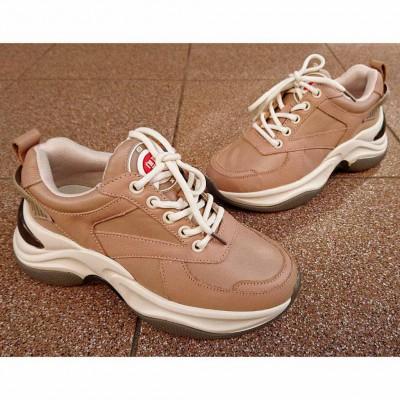 Кожаные кроссовки на трендовой подошве, 788К