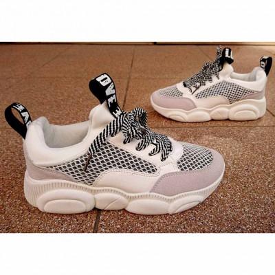 Кроссовки для девочек бело-серые, M2371 white