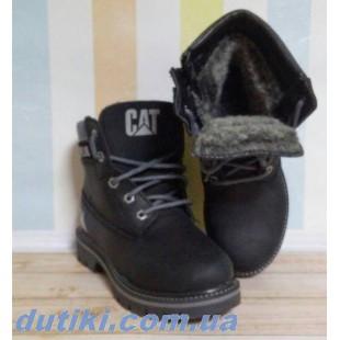 Зимние кожаные ботинки на натуральном меху реплика Caterpillar: САТ_black