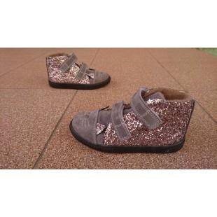 "Ортопедические ботинки для девочек нат.замша+глитер Арт: ""Kitty_grey"""