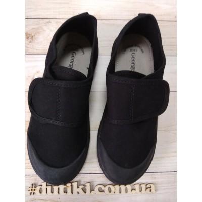 Черные текстильные кеды, мокасины  для мальчиков School_black