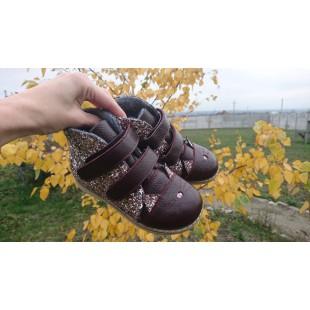"""Ортопедические ботинки для девочек нат.кожа+глитер Арт: """"Kitty_bordo"""""""