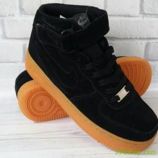Ботинки - кроссовки  Nike Air Force (унисекс)  - натуральный замш - последняя пара - стелька 25 см!