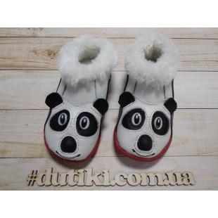 """Короткие полуботинки из натуральной кожи, утепленные мехом : """"Панда"""""""