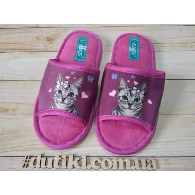Мягкие тапочки для девочек, Кошечки_purple