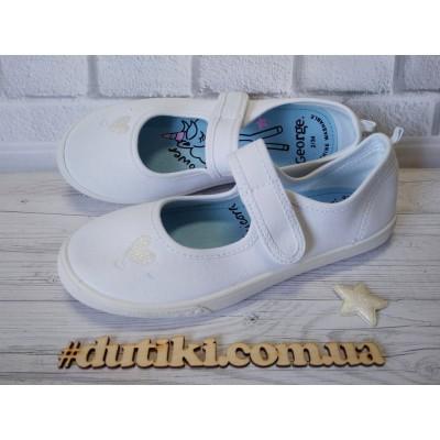 Белые текстильные туфли, мокасины для девочек 466 White