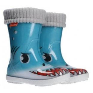 """Дитячі гумові чоботи з утеплювачем Hawai Lux Print """"Акула"""""""