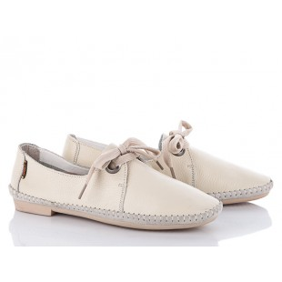 Бежевые кожаные туфли : Арт 124215