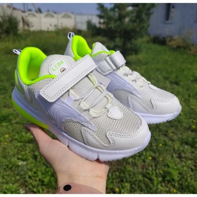 Білі кросівки для дівчат і хлопчиків, 79-002 white-green