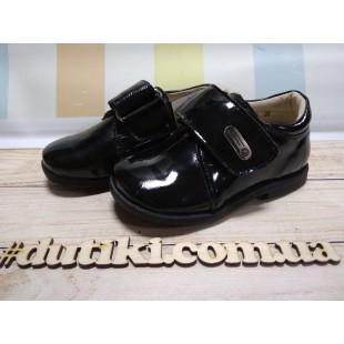 Черные туфли для мальчиков из кожи, покрытые лаком Арт: 2924-6АВ -последняя пара!
