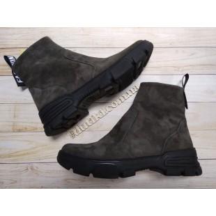 Женские/подростковые ботинки из натурального нубука Арт: 320-08