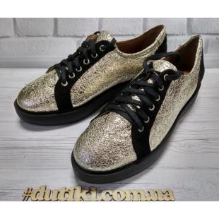 Женские кожаные туфли золотистые, 38 размер -25см !