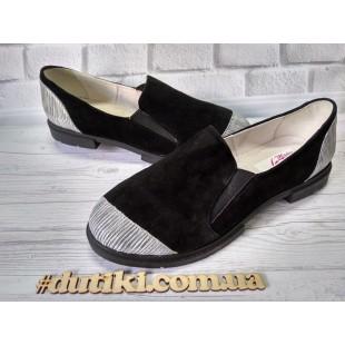 Туфли замшевые женские на маленьком каблуке Арт.: 047-77