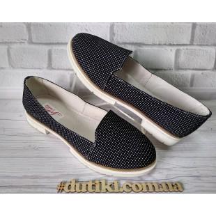 Туфли замшевые женские белая подошва, каблучок Арт.: 247горох