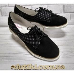 Туфли замшевые женские на маленьком каблуке Арт.: 847-53