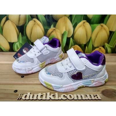"""Кроссовки """"дышащие"""" для девочек, 885 white-purple"""