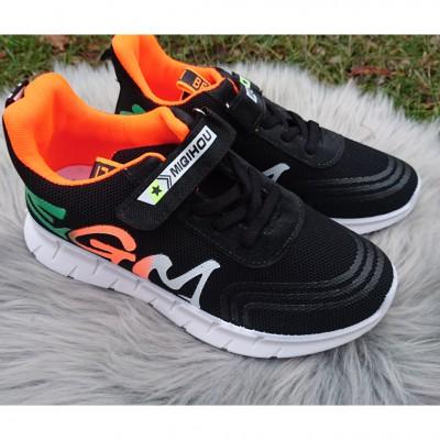 Кросівки текстильні чорно-помаранчеві, 9030A black-orange