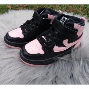 Хайтопы для девочек 27-30 размеры Арт: 626GA black-pink