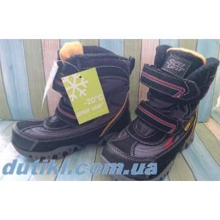 Зимние термо ботинки для мальчиков на флисовом подкладе АРТ: В206 black-grey