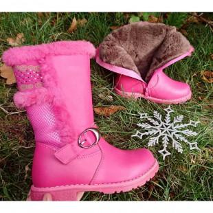 Зимние сапоги для девочек из натуральной кожи и меха Арт: B20M