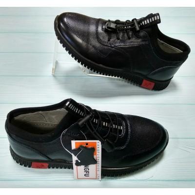 Кроссовки, туфли кожаные синие для мальчиков, 5-3671C blue