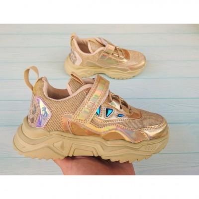 Золотистые кроссовки для девочек, 3893-C