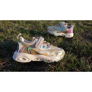 Золотые дышащие кроссовки-- мигалки с кожаной стелькой и супинатором Арт: 7295-3