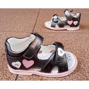 Босоножки из натуральной кожи  для девочек с каблуком Томаса Арт: F172