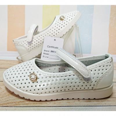 Нарядные белые туфли для девочек Арт: 1-378F
