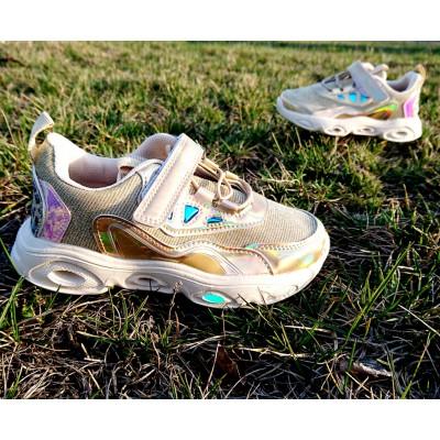 Дышащие кроссовки девочкам с мигающей подошвой Арт: 7295-3