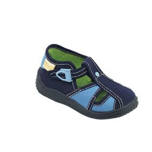 KAJA_голубая - тапочки для мальчиков с кожаной стелькой