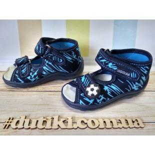 Текстильные сандалии-тапочки для мальчиков c кожаной стелькой Karo druk blue