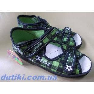 Текстильные босоножки-тапочки для мальчиков c кожаной стелькой Karo kratka green