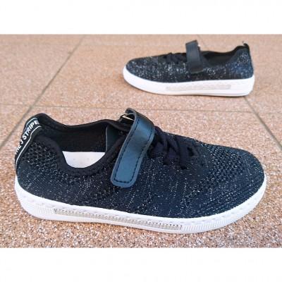 Дышащие мокасины для девочек - обувь для школы Арт: 1003L black