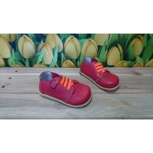 Кожаные туфли для девочек и мальчиков на супер гнущейся подошве Арт:  Red