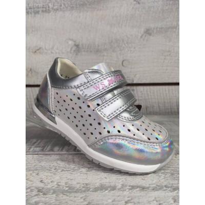 Кроссовки для девочек с перфорацией, R36718 silver