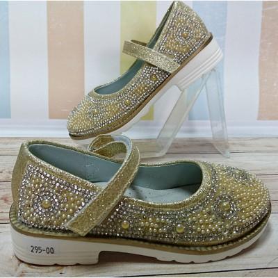 Туфли для девочек золотые, 02-501AS