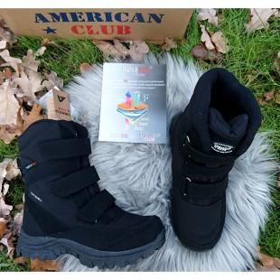 Зимние термо ботинки подростковые American Club Арт: 02-60SN black