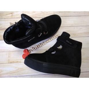 Зимние ботинки из натуральной замши Арт: TY3036 black - последняя пара!