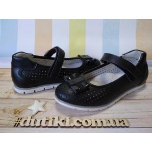 Школьные туфли для девочек с перфорацией Арт: XY-0845 black