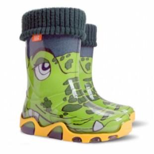 """Детские резиновые сапоги с утеплителем STORMER LUX PRINT B """"Крокодил"""""""