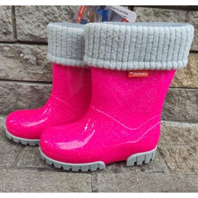 Гумові чоботи з утеплювачем Demar, 0406G rose