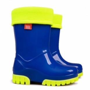 """Детские резиновые сапоги с утеплителем Twister Fluo A - """"Ultra blue"""""""