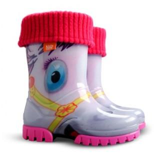 """Детские резиновые сапоги с утеплителем Twister Fluo hа """"Пони"""""""